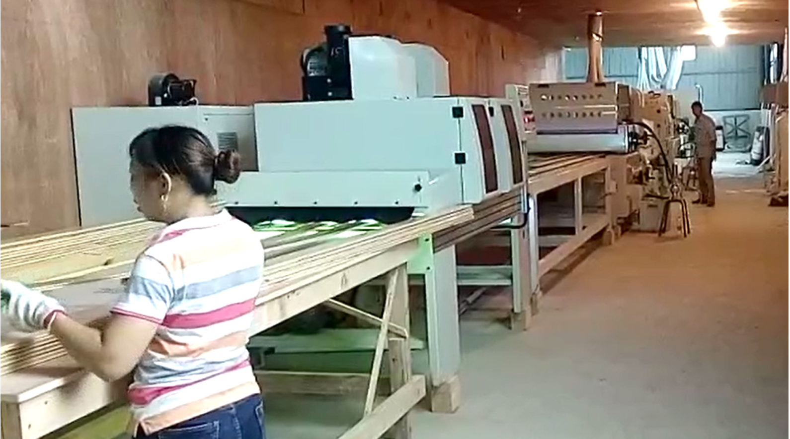 Automatic UV coating line of pine sheet for wal...